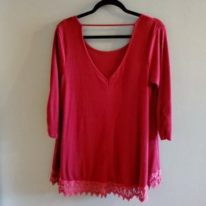 Maurices Tops - 💞3/$25💞Maroonish Maurice Long Top with lace